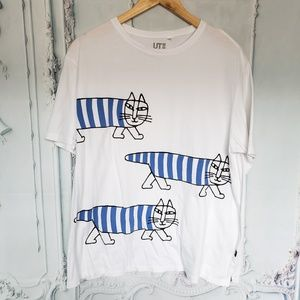 UT Uniqlo x Lisa Larson Striped Cat Graphic Tee